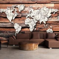 Artgeist Fototapete - Map On Wood