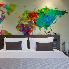 Artgeist Fototapete - Paint splashes map of the World