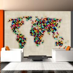 Artgeist Fototapete - World Map - a kaleidoscope of colors