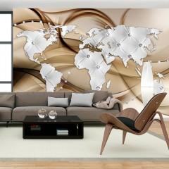 Artgeist Fototapete - World Map - White & Diamonds