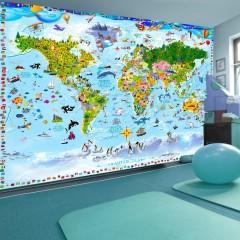 Artgeist Fototapete - World Map for Kids