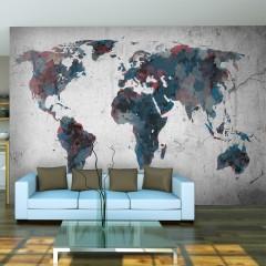 Artgeist Fototapete - World map on the wall