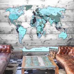 Artgeist Fototapete - World Map: Blue Continents