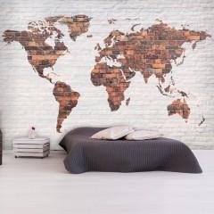 Artgeist Fototapete - World Map: Brick Wall