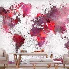 Artgeist Fototapete - World Map: Red Watercolors