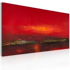 Artgeist Gemaltes Bild - Roter Sonnenuntergang am Meer