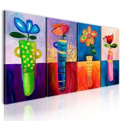 Artgeist Gemaltes Bild - Regenbogen Blumen