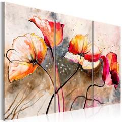 Artgeist Gemaltes Bild - Mohnblumen im Wind