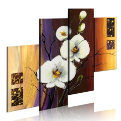 Artgeist Gemaltes Bild - Weiße Orchidee