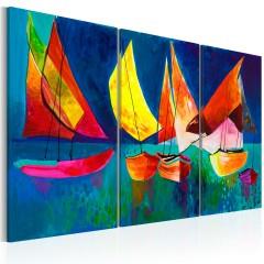 Artgeist Gemaltes Bild - Bunte Segelboote