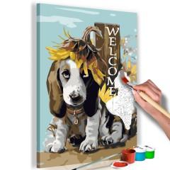 Artgeist Malen nach Zahlen - Dog and Sunflowers