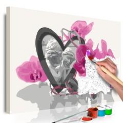Artgeist Malen nach Zahlen - Engel (Herz & rosarote Orchidee)