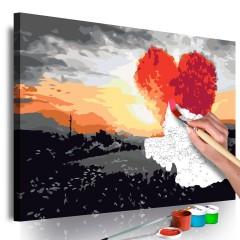 Artgeist Malen nach Zahlen - Herzförmiges Baum (Sonnenaufgang)