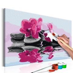 Artgeist Malen nach Zahlen - Orchidee mit Zen Steinen (Wasserspiegelung)