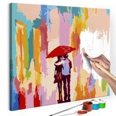 Artgeist Malen nach Zahlen - Paar unter dem Regenschirm (Rosa Hintergrund)