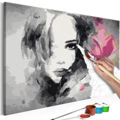 Artgeist Malen nach Zahlen - Porträt in schwarz-weiß mit rosaroter Blume