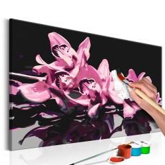 Artgeist Malen nach Zahlen - Rosarote Orchidee (schwarzer Hintergrund)