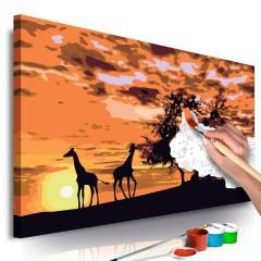 Artgeist Malen nach Zahlen - Savanne (Giraffen & Elefanten)