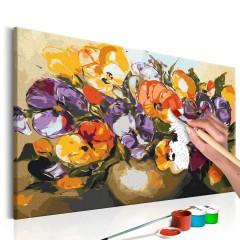 Artgeist Malen nach Zahlen - Stiefmütterchen in der Vase