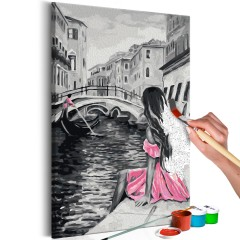 Artgeist Malen nach Zahlen - Venedig (Mädchen in einem rosa Kleid)
