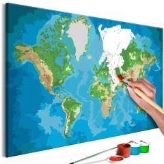 Artgeist Malen nach Zahlen - Weltkarte (blau & grün)