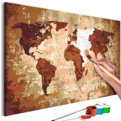 Artgeist Malen nach Zahlen - Weltkarte (Erdfarben)
