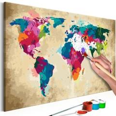 Artgeist Malen nach Zahlen - Weltkarte (farbenfroh)