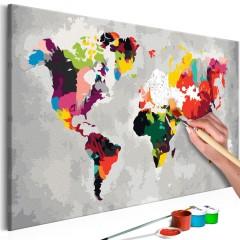 Artgeist Malen nach Zahlen - Weltkarte (Helle Farben)