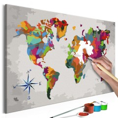 Artgeist Malen nach Zahlen - Weltkarte (Windrose)