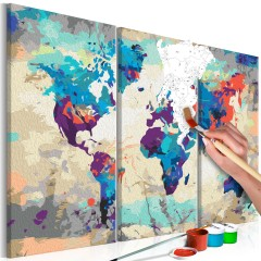 Artgeist Malen nach Zahlen - World Map (Blue & Red) 3 Parts