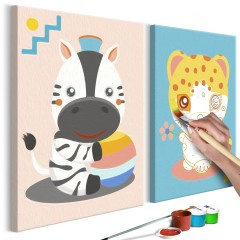 Artgeist Malen nach Zahlen - Zebra & Leopard