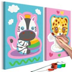 Artgeist Malen nach Zahlen - Zebra & Leopard (Rosa & Blau)