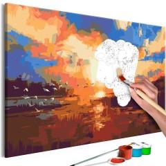 Malen nach Zahlen - Sunset on the Lake