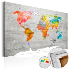 Artgeist Korkbild - Multicolored Travels [Cork Map]