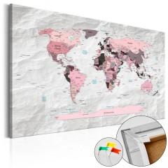 Artgeist Korkbild - Pink Continents [Cork Map]