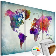 Artgeist Korkbild - World in Colors [Cork Map]