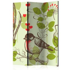 Artgeist 3-teiliges Paravent - Bird and lilies vintage pattern [Room Dividers]