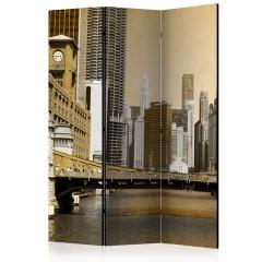 Artgeist 3-teiliges Paravent - Chicago's bridge (vintage effect) [Room Dividers]