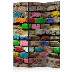 Artgeist 3-teiliges Paravent - Colourful Bricks [Room Dividers]
