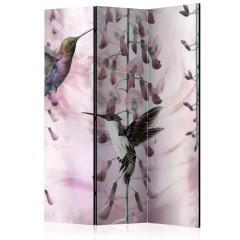 Artgeist 3-teiliges Paravent - Flying Hummingbirds (Pink) [Room Dividers]
