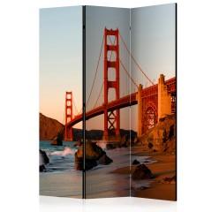 Artgeist 3-teiliges Paravent - Golden Gate Bridge - sunset, San Francisco [Room Dividers]
