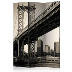 Artgeist 3-teiliges Paravent - Manhattan Bridge, New York [Room Dividers]