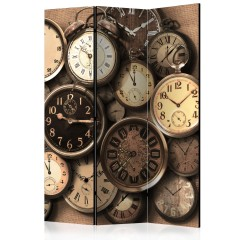 Artgeist 3-teiliges Paravent - Old Clocks [Room Dividers]