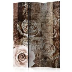 Artgeist 3-teiliges Paravent - Old Wood & Roses [Room Dividers]