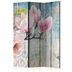 Artgeist 3-teiliges Paravent - Pink Flowers on Wood [Room Dividers]