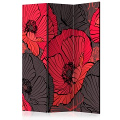 Artgeist 3-teiliges Paravent - Pleated poppies [Room Dividers]