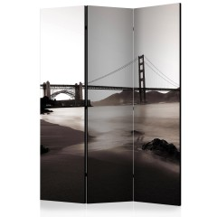 Artgeist 3-teiliges Paravent - San Francisco: Golden Gate Bridge in black and white [Room Dividers]