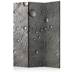 Artgeist 3-teiliges Paravent - Steel surface with water drops [Room Dividers]