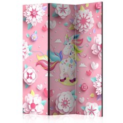 Artgeist 3-teiliges Paravent - Unicorn on Flowerbed [Room Dividers]