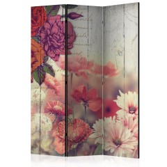 Artgeist 3-teiliges Paravent - Vintage Flowers [Room Dividers]